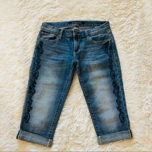 DRIFTWOOD Embroidered Capri Jeans